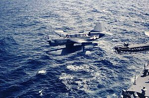 USS Biloxi (CL-80) - A Curtiss SO3C is catapulted from Biloxi in 1943