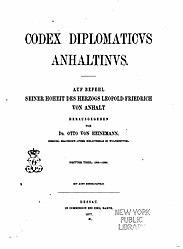Codex diplomaticus anhaltinus. Band 3.