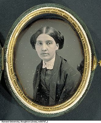 Susan Huntington Gilbert Dickinson - A daguerreotype of a young Susan Dickinson with a frame, contributed from Dickinson Family Photographs (MS Am 1118.99b). Houghton Library, Harvard University.