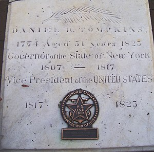 Daniel D. Tompkins - The cover to the vault in which Tompkin's remains were interred