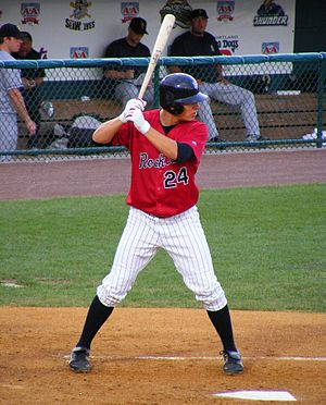 New Britain Rock Cats - Danny Valencia, with the Rock Cats