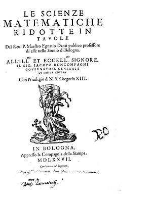 Ignazio Danti - Scienze matematiche ridotte in tavole, 1577