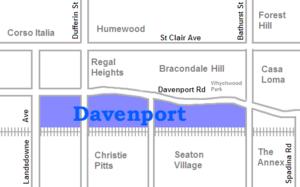 Davenport, Toronto - Image: Davenport map