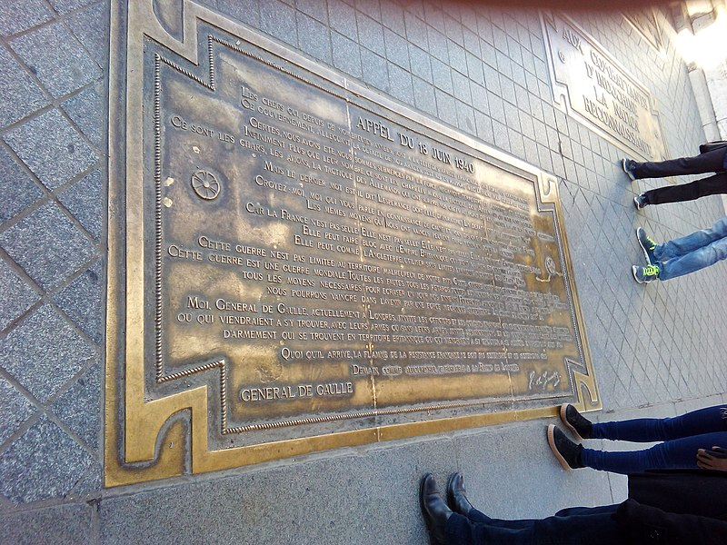File:De Gaulle speech plaque in Arc de Triomphe.jpg