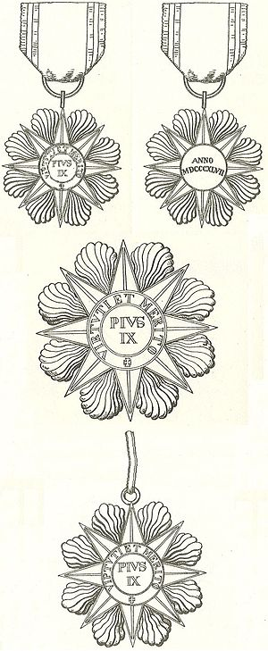 Order of Pope Pius IX - 1893 artistic sketch of the medal.