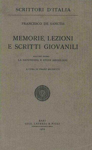 File:De Sanctis, Francesco – La giovinezza e studi hegeliani, 1962 – BEIC 1802792.djvu
