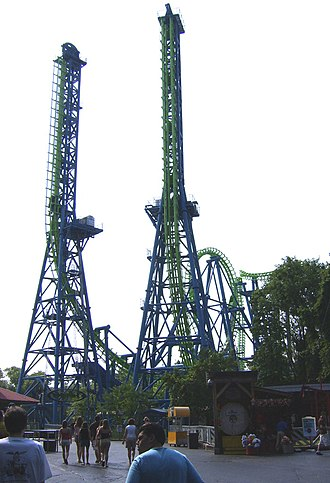 Giant Inverted Boomerang - The former Déjà Vu at Six Flags Over Georgia was relocated to Mirabilandia where it is in storage today.