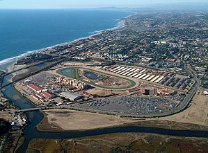 Del Mar Fairgrounds - Aerial view of the Del Mar Fairgrounds and Racetrack looking northwest along the Pacific Ocean coastline