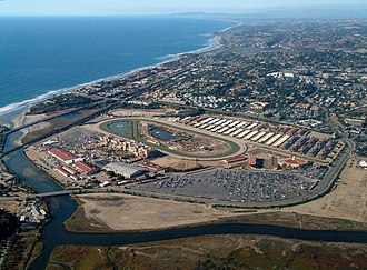 Del Mar racetrack - Aerial view of the Del Mar Fairgrounds and Racetrack looking northwest along the Pacific Ocean coastline.