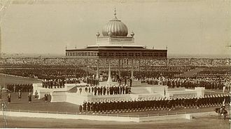 New Delhi - The Delhi Durbar of 1911, with King George V and Queen Mary seated upon the dais.