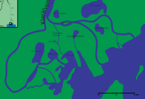 Klarälven - Map of the Klarälven delta and accompanying water bodies. Not showed here are the southern branches of the west part of the delta.
