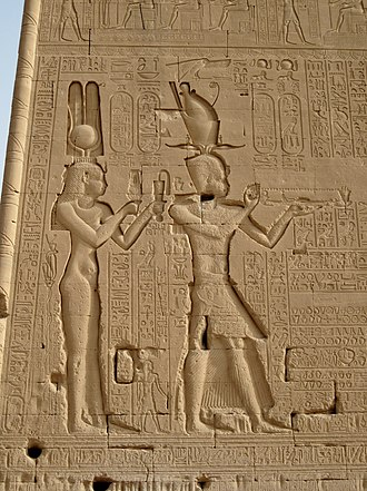 Greeks in Egypt - Cleopatra VII along with her son Caesarion as Pharaoh.