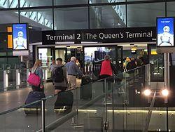 Departure hall entrance, London Heathrow Terminal 2, UK - 20150621.jpg