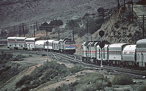 Desert Wind - Two Desert Wind trains meet on the east side of Cajon Pass in 1981