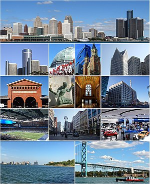 Clockwise: Skyline of Detroit, Ally Detroit Center, Detroit Fox Theatre, North American International Auto Show at TCF Center, Ambassador Bridge, Detroit River, Ford Field, Eastern Market, Renaissance Center, Belle Isle Conservatory, Greektown, Guardian Building, Merchants Row on Woodward Avenue, and The Spirit of Detroit statue.