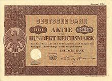 Azione della Deutsche Bank del 1940