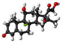 Ball-and-stick model of the dexamethasone molecule