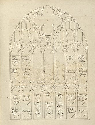 St Asaph Cathedral - Diagram of window in St Asaph cathedral, with the names of all the families represented by the coats of arms