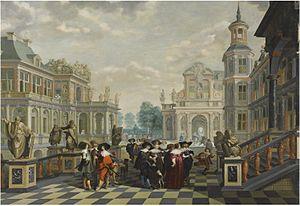 Dirck van Delen - Elaborate Palace Courtyard With Elegant Company, c. 1635