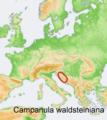 Distribution map Campanula waldsteiniana.png