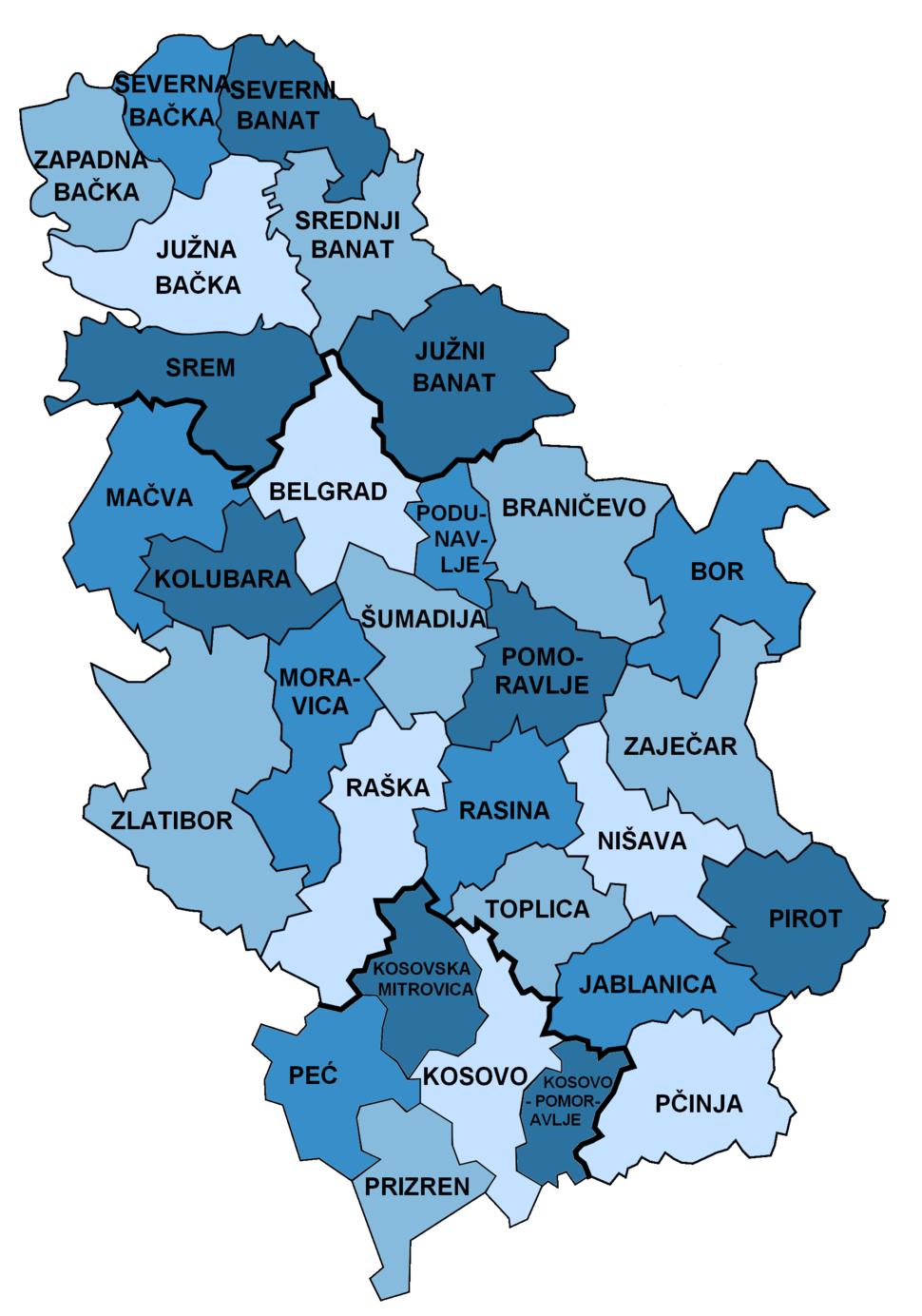 Districts of Serbia de
