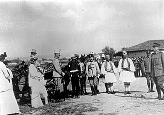 Peasant Revolt in Albania - Prince Wilhelm of Wied, Isa Boletini and officers of the International Gendarmerie: Duncan Heaton-Armstrong and Colonel Thomson near Durres in June 1914