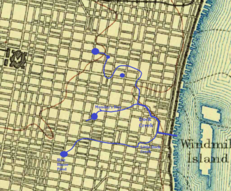 Dock Street Market - Map showing the former course of Dock Creek and its tributaries in Philadelphia.