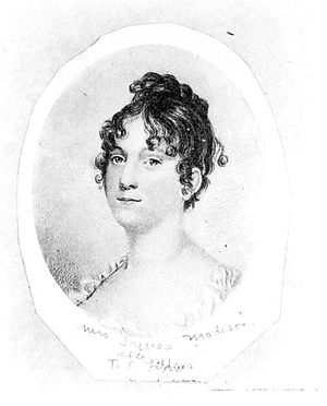 Dolley Madison - Engraving of Dolley, c. 1800.