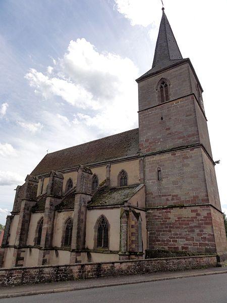 Alsace, Bas-Rhin, Église protestante Saint-Gall de Domfessel (PA00084693, IA67005785).Façade nord avec le bas-côté et le clocher.
