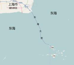 גשר דונגהאי המחבר בין שאנגחאי לנמל יאנגשאן, במפה