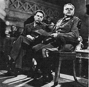 Anton Dostler - Dostler (right) with his interpreter, Albert O. Hirschman, at his trial, 1945