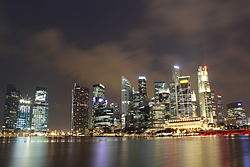 Singapore's CBD night skyline.