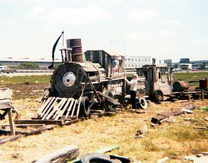 Driftwood - Driftwood sculpture of a locomotive in or near Emeryville, California, at the edge of the San Francisco Bay, 1977.