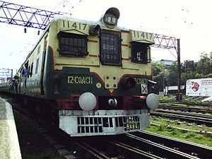 Kolkata Suburban Railway - A Howrah bound local train leaving Bandel railway station