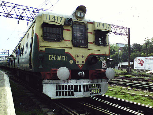A Howrah bound EMU train leaving Bandel Jn. - Howrah–Bardhaman main line