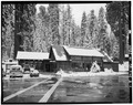 EXTERIOR, LOOKING EAST - Camp Kaweah Historic District, Cafeteria, Three Rivers, Tulare County, CA HABS CAL,54-GIFO,1-A-1.tif