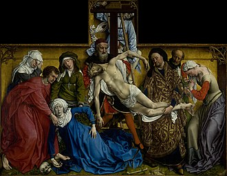 Rogier van der Weyden - The Descent from the Cross (c. 1435), oil on oak panel, 220 × 262 cm. Museo del Prado, Madrid