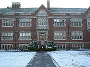 Reed College's Eliot Hall on a rare snowy day.