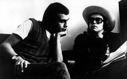 Elton John with Bernie Taupin (left) in 1971. They have collaborated on more than thirty albums to date. Elton John Bernie Taupin 1971.JPG