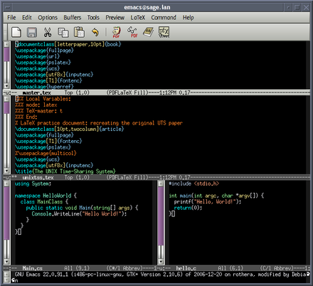 GNU Emacs, an extensible editor that is commonly used as an IDE on Unix-like systems Emacs-screenshot.png