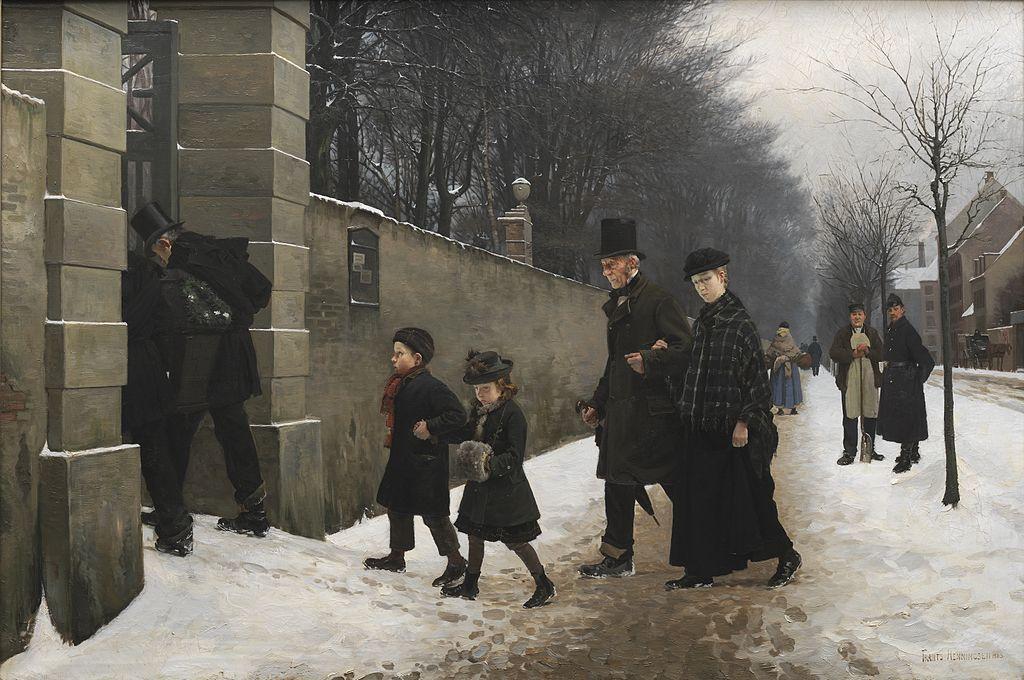 """""""Funérailles"""" au cimetière Assistens de Copenhague - Tableau de Frants Henningsen  (1883)"""