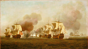 Battle of Havana (1748) - Image: End of Knowles' action off Havana, 1 October 1748