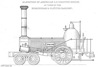 """Birmingham and Gloucester Railway - The """"England"""" locomotive built by the Norris company"""