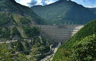 Arch dam - The Enguri Dam in the Caucasas of Georgia.