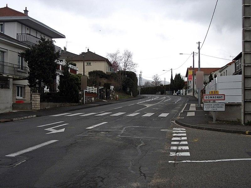 Entrance of Romagnat from Aubière by departmental road 21, Puy-de-Dôme, France
