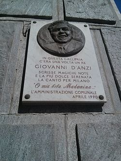 Photo of Giovanni D'Anzi marble plaque