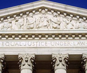 Image of the US Supreme Court with engraved words Equal Justice Under Law