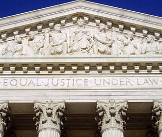 "Equal Protection Clause - The U.S. Supreme Court Building opened in 1935, inscribed with the words ""Equal Justice Under Law"" which were inspired by the Equal Protection Clause."