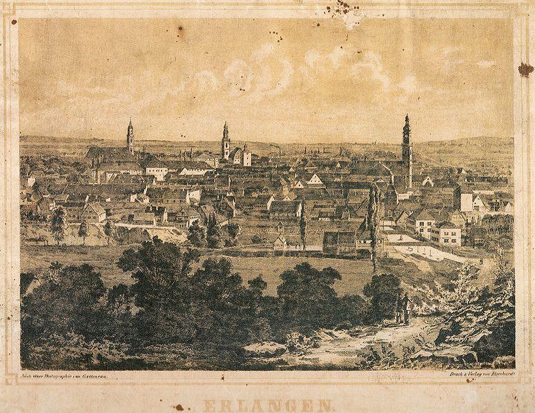 File:Erlangen Blick vom Burgberg auf die Innenstadt 1860 001.jpg