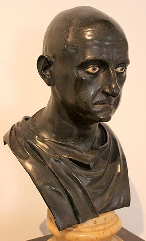 Roman bronze bust of Scipio Africanus, dated mid 1st century BC, and found in the Villa of the Papyri at Herculaneum Escipion africano.JPG